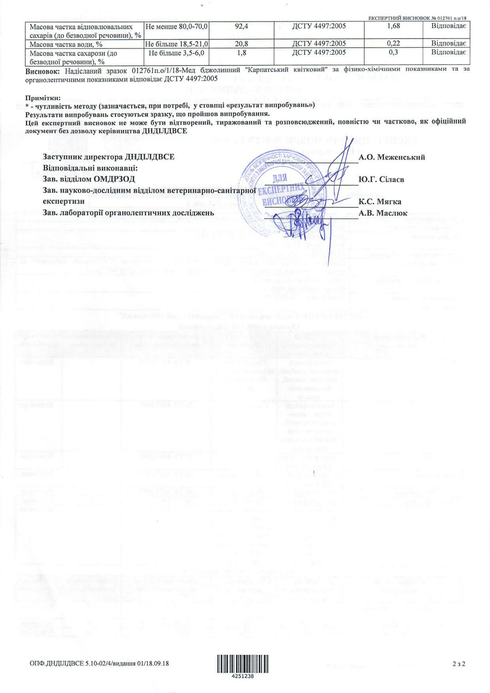 Експертний висновок на мед Карпатський високогірний-2-1653x2339