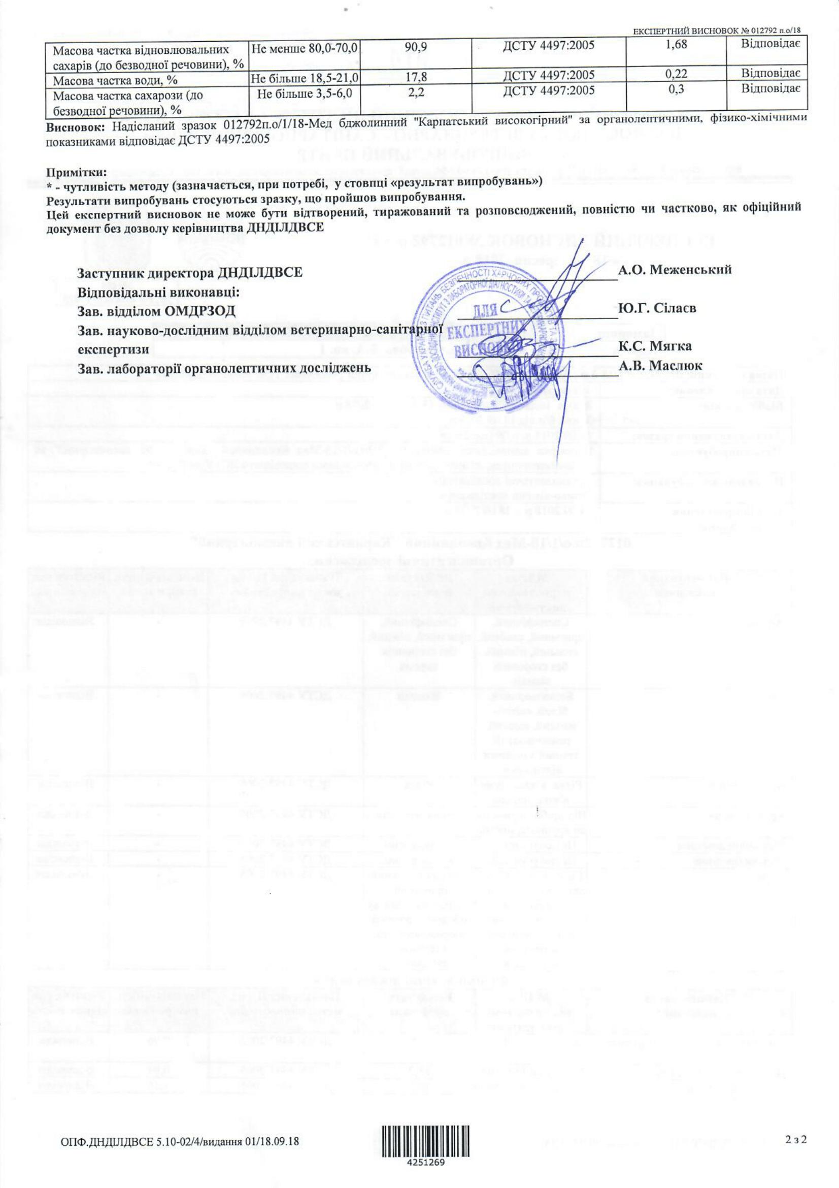 Експертний висновок на мед Карпатський квітковий-2-1653x2339