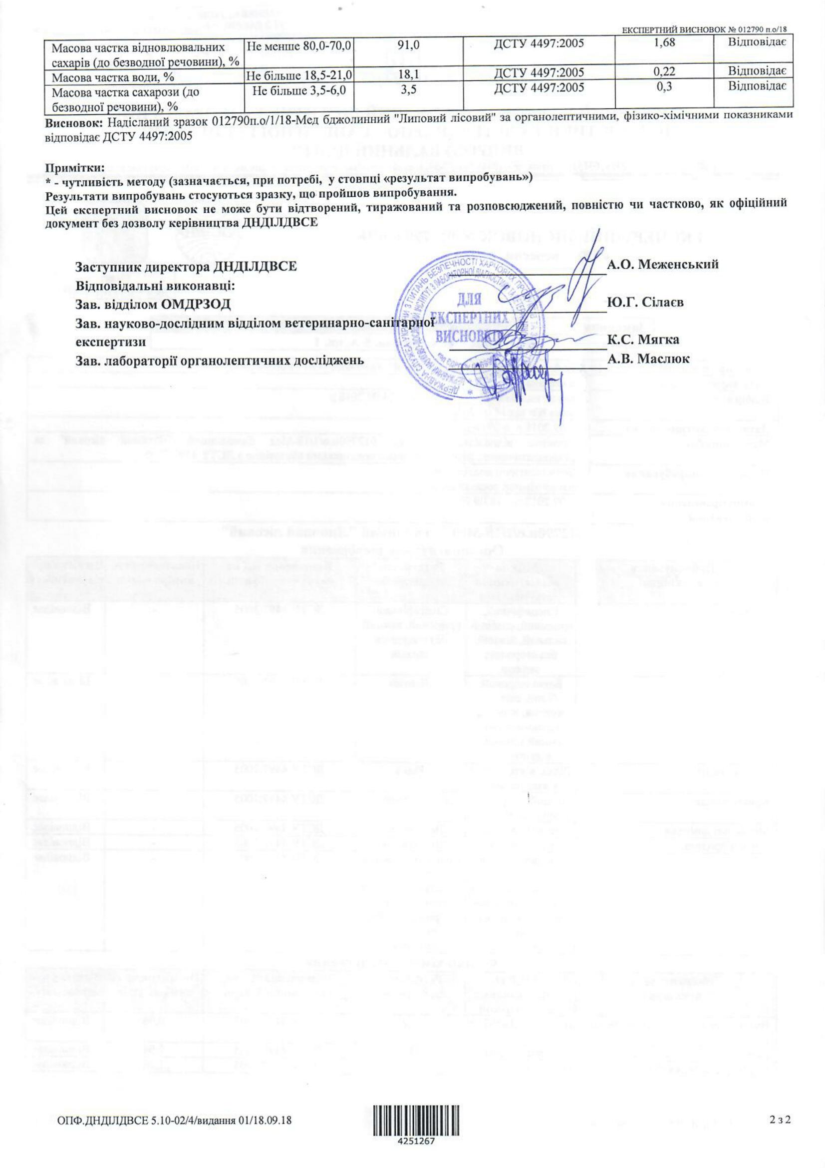Експертний висновок на мед Липовий лісовий-2-1653x2339