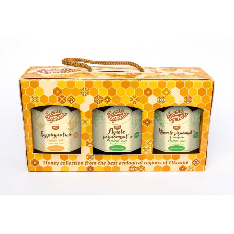 """Подарунковий набір меду """"Квіткове асорті"""""""